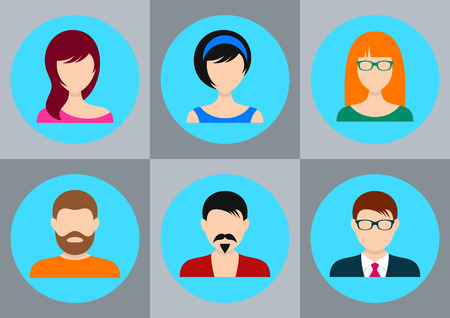 nick: Men and women avatar icons for your design Illustration