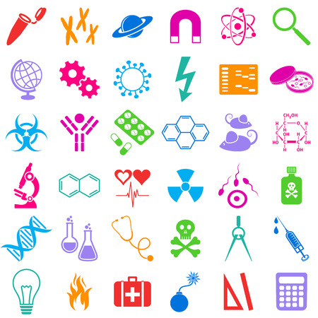 molecular biology: Molecular biology medicine and science colorful vector icons