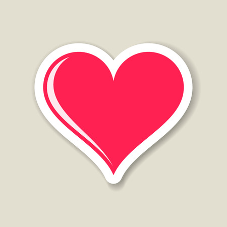 Red vector heart paper label with transparent shadow