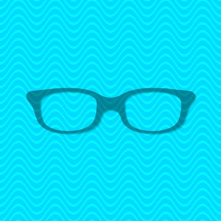 corrective lenses: Single vector glasses icon on blue background