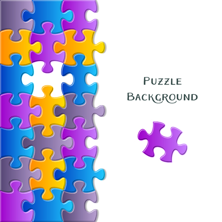 are joined: Vector card with colorful gradient joined puzzle pieces2