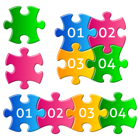 puzzle shadow: Vector colorful gradient jigsaw puzzle pieces with numbers