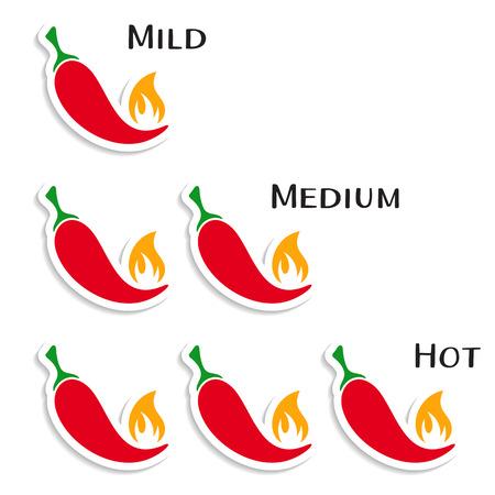 capsaicin: Vector red hot chilli peppers mild medium hot