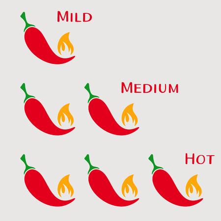 mild: Vector red hot chilli peppers mild medium hot
