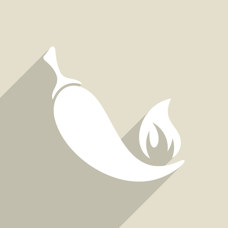 capsaicin: White vector hot chilli pepper icon long shadow