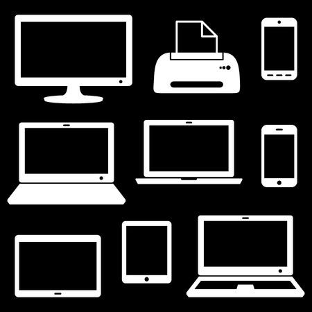 lcd monitor printer: White vector modern digital device icons on black
