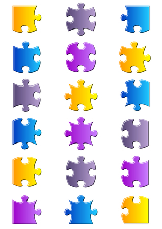 put together: All possible shapes of jigsaw puzzle pieces gradient Illustration