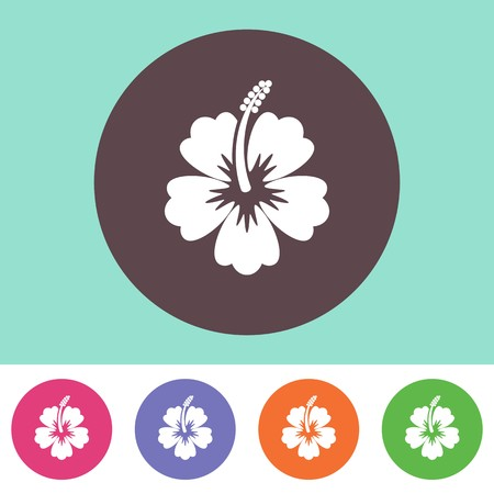 beautiful red hibiscus flower: Vector hibiscus flower icon on round colorful buttons Illustration