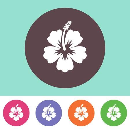 hibisco: Vector icono de flor de hibisco en los botones de colores redondas Vectores