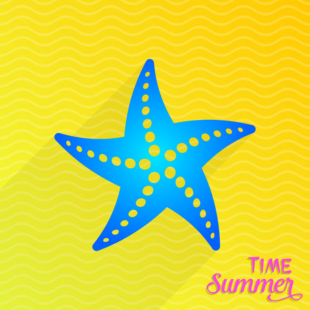 Vector summer time card with blue starfish icon
