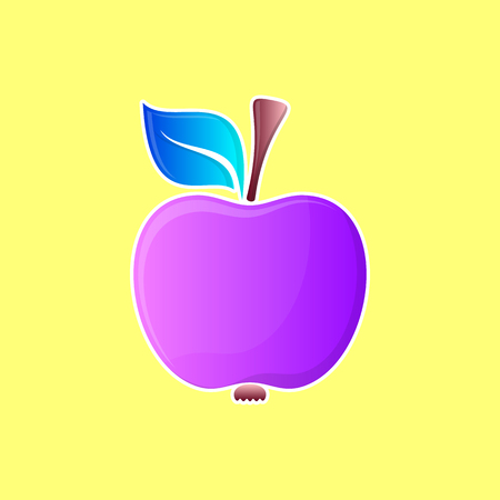 Abstract vector colorful apple icon with white contour