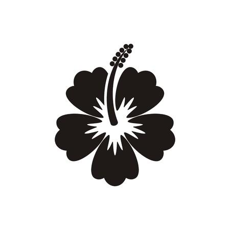 흰색 배경에 검은 벡터 히 비 스커 스 꽃 아이콘
