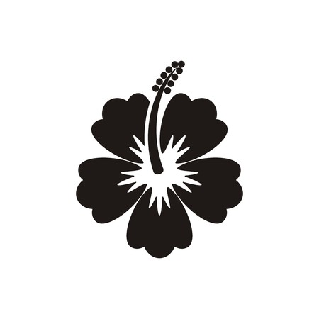hibiscus flowers: Nero vettore ibisco fiore icona su sfondo bianco