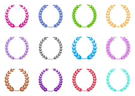 wreaths: Colorful vector laurel wreaths collection on white background