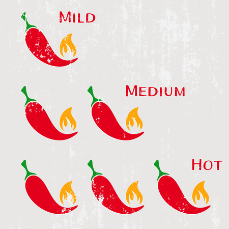 cayenne pepper: Grunge red hot chilli peppers mild medium hot Illustration