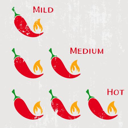 Grunge red hot chilli peppers mild medium hot Illustration