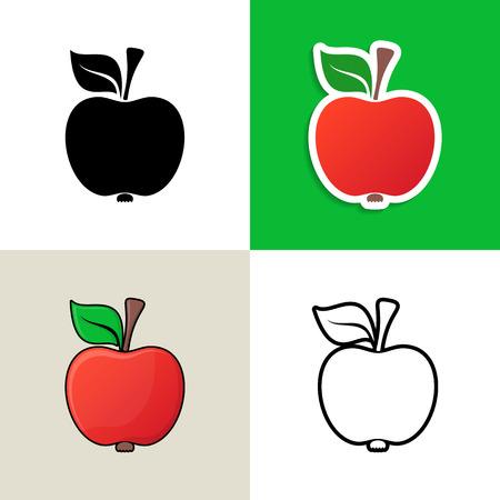 fruit stalk: Various vector apple design elements on colorful squares