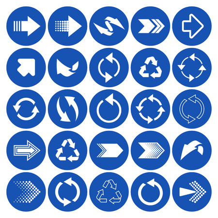 application recycle: White vector arrow sign icons big collection Illustration