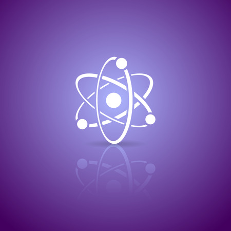 photon: White vector atom icon on violet gradient background