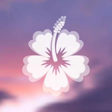 White vector hibiscus flower icon on blurred background