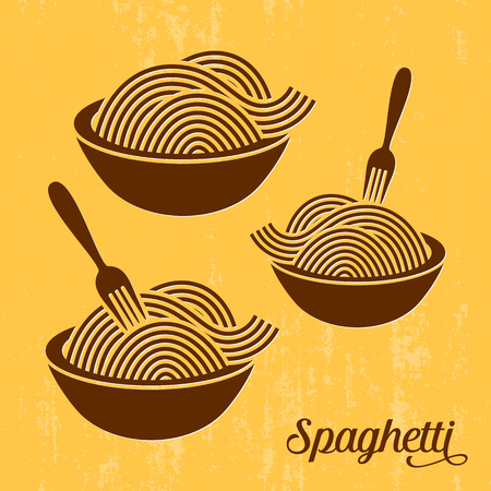 spaghetti dinner: Spaghetti or noodle with fork retro vector icons