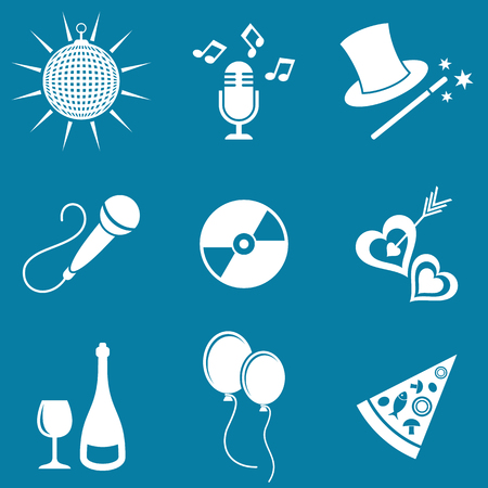 white party: White party and entertainment icons vector silhouette collection