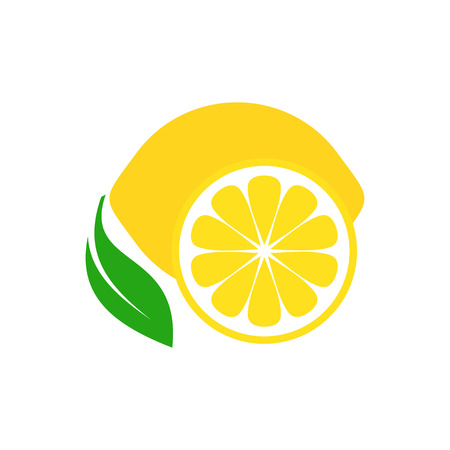 Colorful simple lemon fruit icon on white