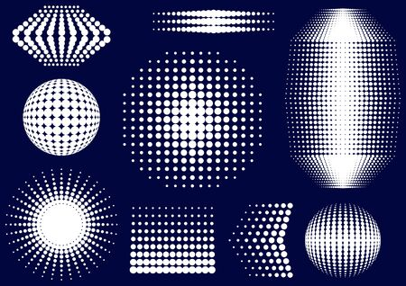 White abstract vector halftone design elements collection Vector