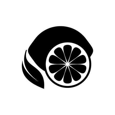 Black simple lemon fruit icon on white