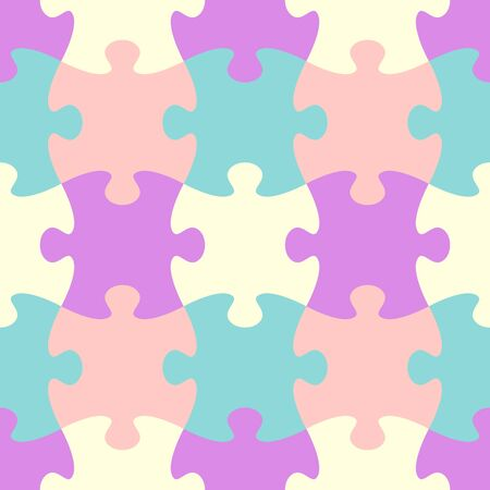 Colorful vector jigsaw puzzle seamless pattern vintage design Vector