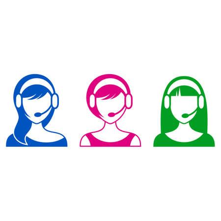 call center woman: Soporte vectorial colorido o de call center mujer iconos