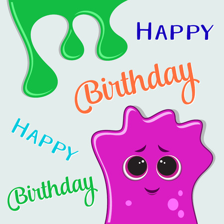 bash: Vector happy birthday party card design with monster