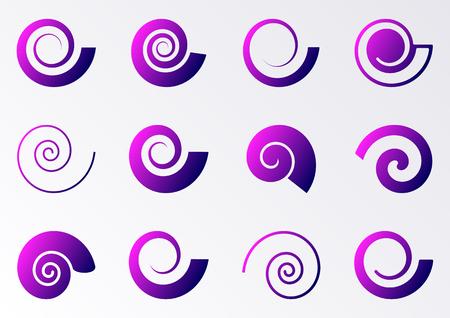 espiral: Iconos espiral gradiente de violetas en fondo blanco Colección