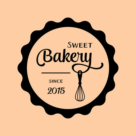 apricot: Black vector bakery label isolated on apricot background