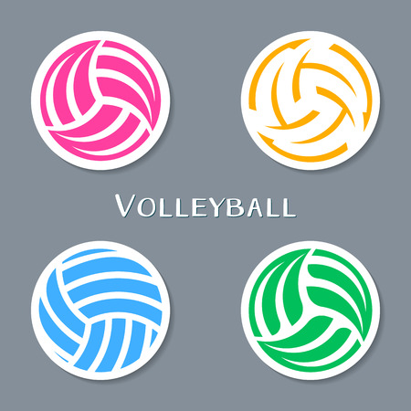 volleyball: Colorful vector volleyball ball abstract labels collection
