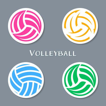 voleibol: Colorido voleibol vector de la bola colección de etiquetas abstractas