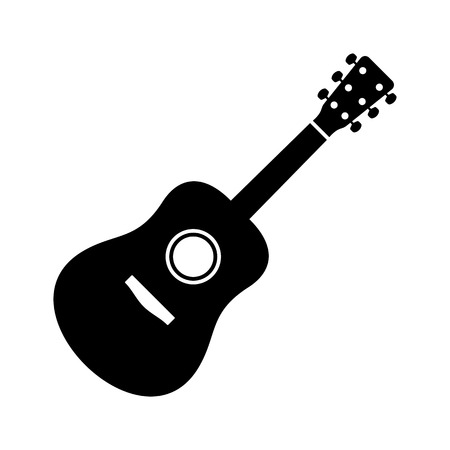 acoustic: Black vector guitar icon isolated on white background