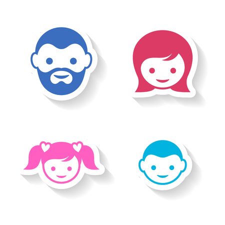 child girl: Set of four colorful family member face labels
