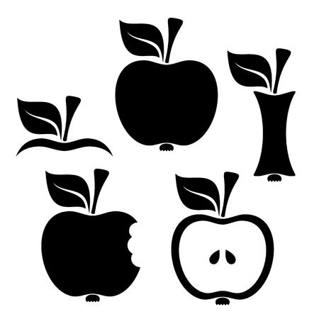apple bite: Black vector apple design elements on white background