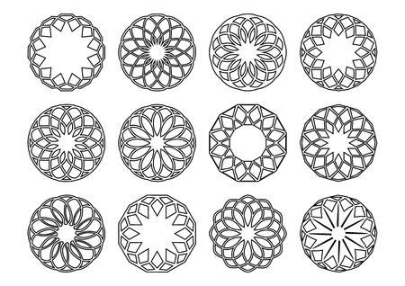 decorative line: Black vector simple round geometric ornaments set isolated Illustration