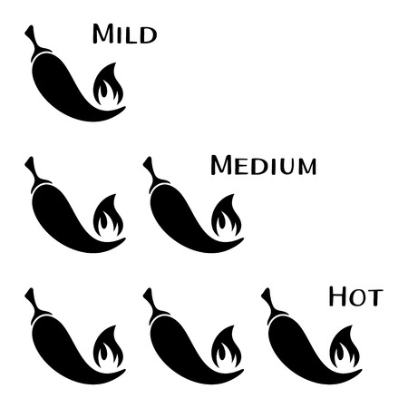chili pepper: Black vector hot chilli peppers mild medium hot Illustration