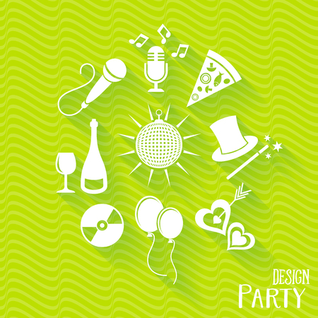 white party: White party and entertainment icons set vector illustration