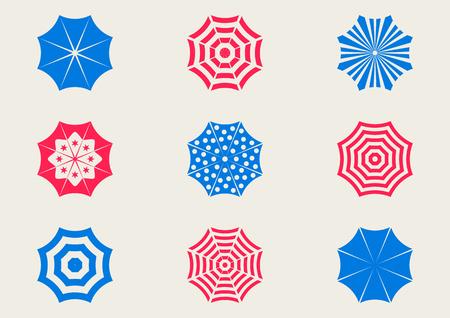sun umbrella: Set of various colorful sun umbrella icons isolated