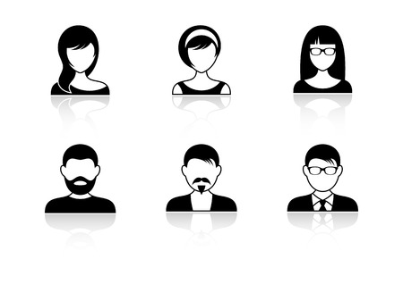 visage femme profil: Hommes et femmes icônes avec des ombres