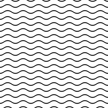 Black vector simple seamless wavy line pattern