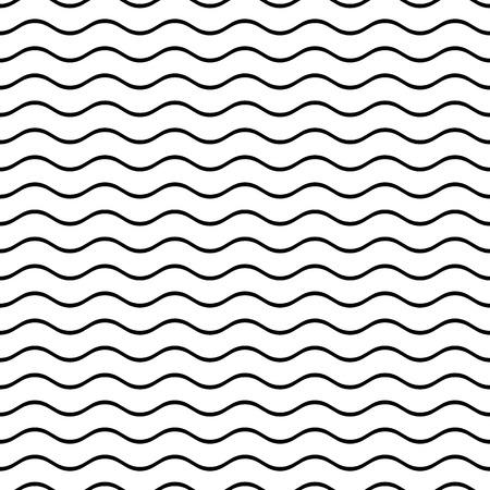 Black vector simple seamless wavy line pattern