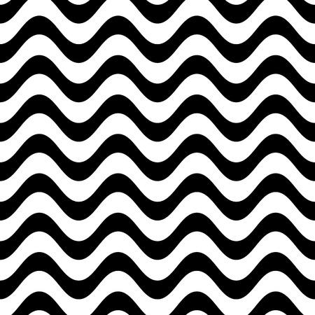 wavy fabric: Black vector simple seamless wavy line pattern
