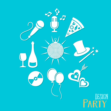 wedding love: Party and entertainment icons collection vector illustration