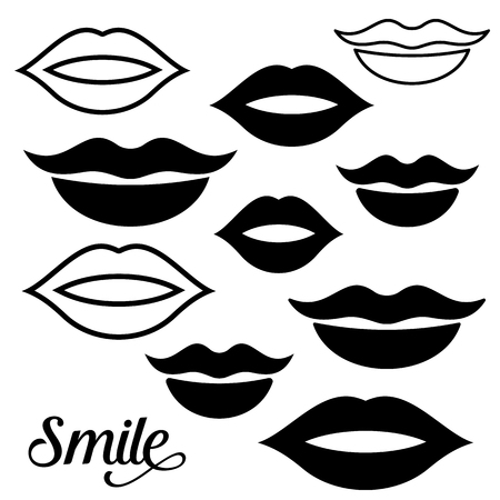 shapes cartoon: Black vector woman lips design elements collection