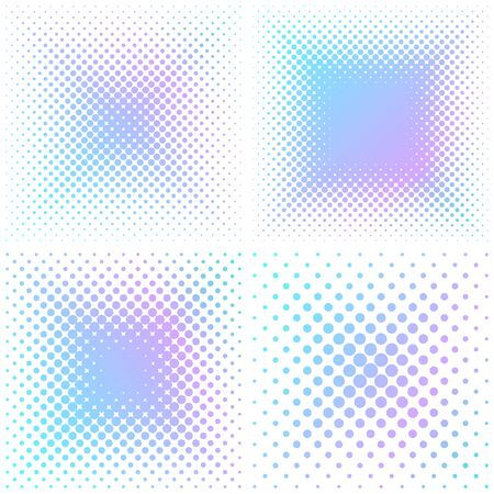 spot the difference: Colorful vector abstract square halftone design elements isolated